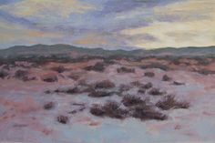 8.5X5.5 studio oil on paper. Snowy evening on the high desert II.
