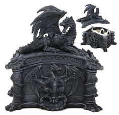 Large Hoarfrost Twilight Dragon Guarding LED Light Crystal Elements St– Ebros Gift Medieval Dragon, Celtic Dragon, Medieval Fantasy, Mythical Dragons, Dragon Jewelry, Fantasy Dragon, Fire Dragon, Statue, Dungeons And Dragons