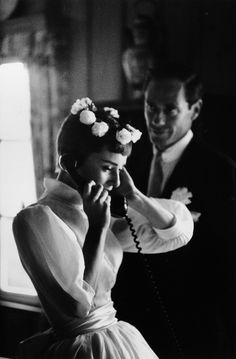 Audrey Hepburn and Mel Ferrer on their wedding day in Bürgenstock, Switzerland. (September 25,1954)