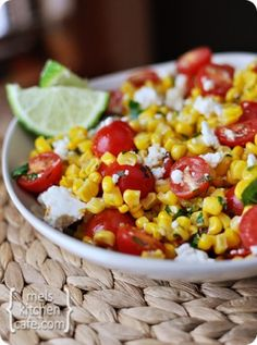 Mexican Tomato and Corn Salad with Cilantro, Lime, and Queso Fresco Cheese