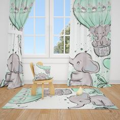 Excited to share this item from my #etsy shop: Cute Elephants and Balloon Baby Boy Room Curtains Nursery Curtains Window Curtains