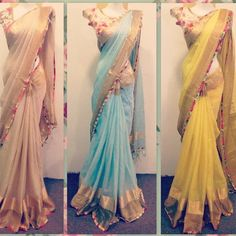 For every Southern girl, is the first auspicious occassion. Celebrating the grandeur of such an event is called a Saree Blouse Patterns, Saree Blouse Designs, Chiffon Saree, Saree Dress, Indian Beauty Saree, Indian Sarees, Indian Dresses, Indian Outfits, Modern Saree