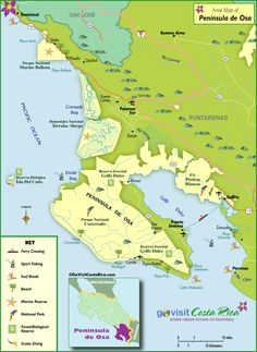 Osa Peninsula & Drake Bay Map   - Explore the World with Travel Nerd Nici, one Country at a Time. http://TravelNerdNici.com