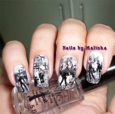 Halloween nails, black, white, grey, shadows, silhouettes, zombies, graveyard, cemetery, cool,