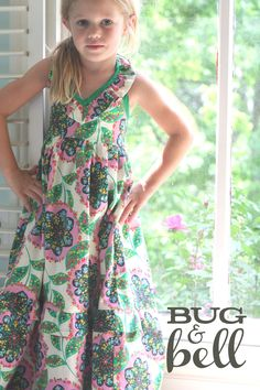 Girls Maxi Dress - The 'Sunshine Daydream' Dress by Bug & Bell (pattern by Violette Fields). $72.00, via Etsy.