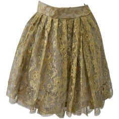 Preowned Exceptional Gianni Versace Couture Multi-tier Flounce Gold... ($4,500) ❤ liked on Polyvore featuring skirts, brown, knee length lace skirt, brown lace skirt, frill skirt, brown ruffle skirt and versace