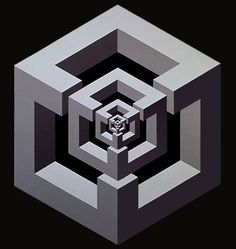 Estructura (serie cubos), 1971. Sintético y acrílico sobre madera. 140 X 122 cm.