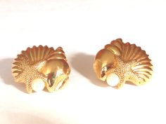 Pearls Shells Starfish Pierced Post Stud Earrings Gold Tone Vintage Avon Large Sea Conch Clam White Round Bead by HeiressVintage on Etsy