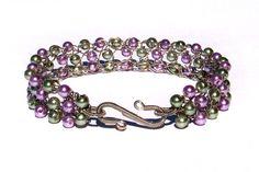 Bracelet Wire Crochet Sage & Purple Glass Pearls by JDaltonDesigns, $25.00