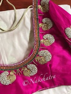 Guttapusala Jeweled Blouse Design Jeweled Blouse designs for Sarees Jeweled Blouses are trendy nowadays with a lot of creativity hitting this year. I have already posted different var… Wedding Saree Blouse Designs, Pattu Saree Blouse Designs, Designer Blouse Patterns, Saree Blouse Neck Designs, Wedding Blouses, Kids Blouse Designs, Simple Blouse Designs, Stylish Blouse Design, Peacock Blouse Designs