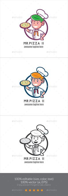 Mr. Pizza II Logo Mascot - Humans Logo Templates