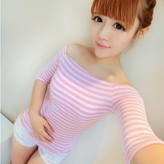 Women's 2013 autumn ladies sexy slit neckline slim waist horizontal stripe three quarter sleeve t-shirt