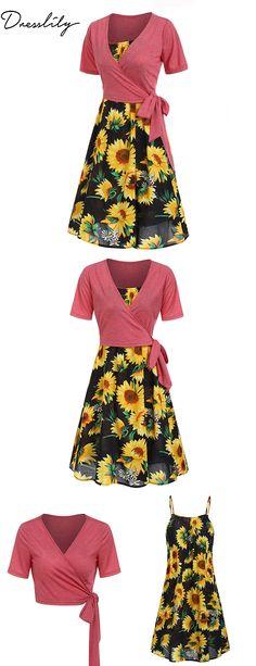 d75cb8781ac Cami Sunflower Dress and Wrap T-shirt Set. Enjoy 12% off   3