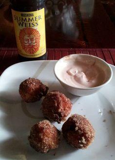 Salsa Riceballs & Chipolte dip with Beer. Ahhhhh.....summer :)