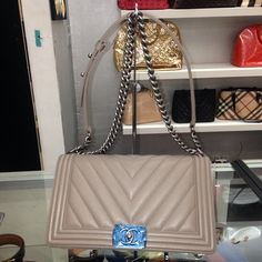 get one of the hottest styles of the season the chanel boy chevron diagonal taupe beige lambskin shoulder bag is a top 10 member favorite on tradesy