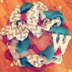 DIY wreath with gold and pearl initial!