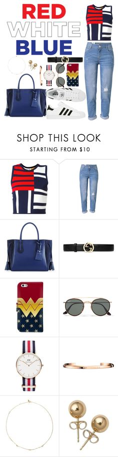 """""""M a d e  I n  T h e  U S A"""" by i-m-penguin-purple974 ❤ liked on Polyvore featuring Tommy Hilfiger, WithChic, Longchamp, adidas, Gucci, Ray-Ban, Daniel Wellington, Loren Stewart and Bling Jewelry"""