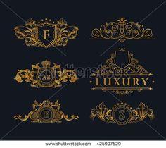 Vintage gold logos crest set. Flourishes Calligraphic royal Ornament. Elegant emblem monogram luxury logo. Floral royal line logo design. Vector sign, logo restaurant boutique, heraldic, cafe hotel