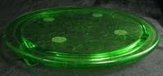green depression glass cake plate Jeanette Sunflower Pattern