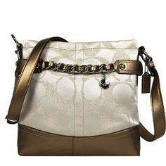 # Coach 24cm Signature Ivory/gold Sateen Chain Duffle Handbags