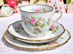 Roslyn China Moss Rose Vintage Teacup Trio