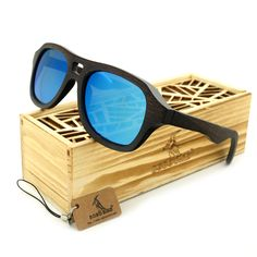 BOBO BIRD Brand New Natrual Black Wood Sunglasses Men Polarized Handmade Sun Glasses for Gifts 2017 Oculos De Sol Masculino
