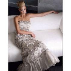 Terani Prom - Sensational Silver Scalloped Strapless Gown - size 2 to 20 - Unique Vintage - Prom dresses, retro dresses, retro swimsuits. Non White Wedding Dresses, Affordable Wedding Dresses, Elegant Wedding Dress, Bridal Dresses, Wedding Gowns, Terani Dresses, Gala Dresses, Evening Dresses, Retro Dress