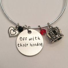 Off With Their Heads Red Queen Alice in Wonderland Mad Hatter Disney Inspired Stamped Adjustable Bangle Charm Bracelet #offwiththeirheads #redqueen #aliceinwonderland #madhatter #whitehare #disney #disneyclassics #handstamped #adjustablebangle #charmbracelet
