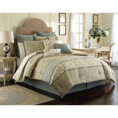 Laura Ashley® Berkley Comforter Set - BedBathandBeyond.com I have to have this for my master