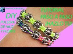 pulsera de hilo facil y flores de cuentas con instrucciones paso a paso como hacer macrame diy - YouTube
