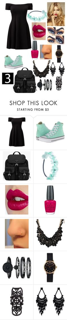 """OUTFIT 3"" by michigan19 ❤ liked on Polyvore featuring Converse, Prada, Wet Seal, Charlotte Tilbury, OPI, sweet deluxe, Anne Klein, Marc by Marc Jacobs, Luxury Fashion and Oasis"
