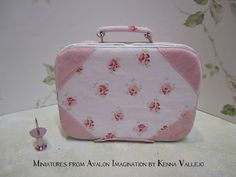 Miniature Barbie Blythe1:6 scale decorative shabby chic opening suitcase covered in Rachel Ashwell fabric.  via Etsy.