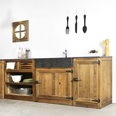 Meuble cuisine évier 2 vasques Reclaimed Wood Projects, Ikea, New Homes, Diy, Cabinet, Storage, Kitchen, Room, Furniture