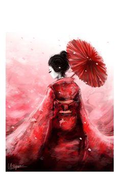 geisha in red by ~nitiryan(deviantart)
