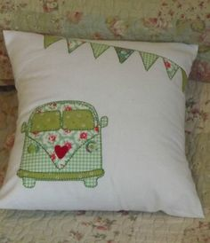 "Home Made 12"" Camper Van Cushion Cover + Pad Vintage Retro Cath Kidston Fabric"