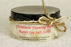 Pure---Chamomile Sea Salt Scrub, puts moisture back into the skin while exfoliating.