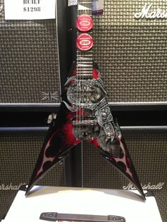 Custom Shop Jackson Extreme V. Ordered at the NAMM show January 2012. Took a loooong time to arrive! The workmanship and artwork is stunning, and we are totally in awe of this shred beast.