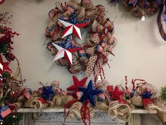 Burlap deco mesh 4th of July garland and wreath. 2015