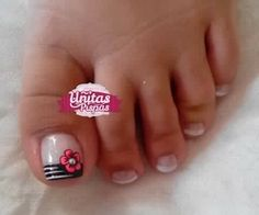 Uñitas pispas Pedicure Designs, Toe Nail Designs, Rose Nails, My Nails, Mani Pedi, Manicure And Pedicure, French Pedicure, Paws And Claws, This Little Piggy