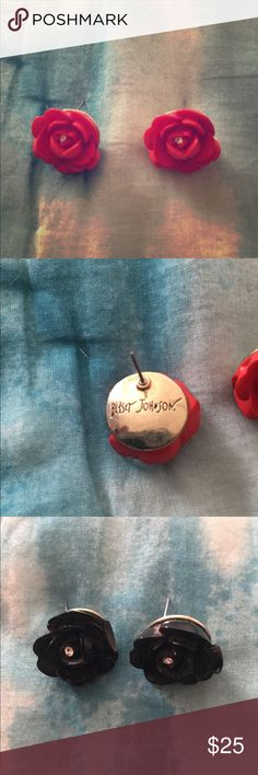 Two pairs of Betsey Johnson earrings Two pairs of betsey Johnson rose earrings.  Black and red. Betsey Johnson Jewelry Earrings