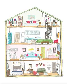 If my apartment were a dollhouse. Illustration by @maggiemadethis | Print shop: society6.com/maggieedkins