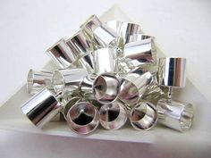End Caps Silver plate 6 Piece Value 8MM by FeelingstoneGiftsLLC