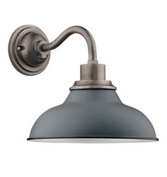"""The curves and colors of our Carson family of lights are now available at a smaller scale.  The Carson 12"""" Wall Sconce's classic gooseneck design is perfect for doors, decks, and signs, both indoors and out.  Just like its larger counterparts, its shade is offset by a black rim and reflective white interior.  * Lightweight aluminum fixture and spun shade * Spun aluminum shade with enamel color and black rim accent * Suitable for indoor and outdoor use * UL Rated - Wet * Imported"""
