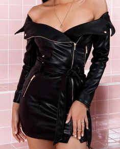 Elegant Fashion Bodycon Belted PU Dresses Women Long Sleeve Off Shoulder Leather Mini Dress Female 2018 Casual Black Vestidos Size S Color 1 Leather Bodycon Dress, Leather Mini Dress, Leather Dresses, Pu Leather, Leather Outfits, Vegan Leather, Black Leather, Women's Fashion Dresses, Sexy Dresses