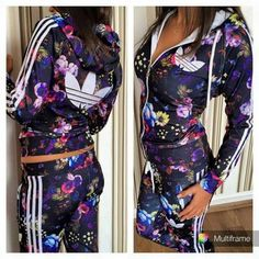 jumpsuit set sportswear adidas tracksuit flowers floral farm purple