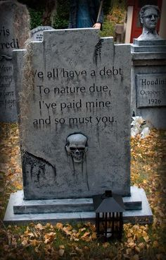 Funny tombstone decorations are a great way to add some humor to your frightening setup. You can keep focusing on the big Halloween props but sometimes it's the little things like, funny tombstone sayings that can steal the entire show. Halloween Prop, Halloween 2020, Holidays Halloween, Halloween Crafts, Happy Halloween, Halloween Decorations, Funny Halloween, Halloween Tombstone Sayings, Halloween Tombstones