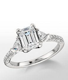 Monique Lhuillier Trillion Cut Diamond Engagement Ring in Platinum