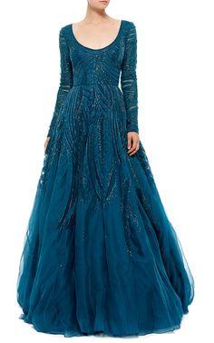 Monique Lhuillier Long Sleeve Ball Gown - Preorder now on Moda Operandi