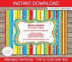 Sweet Shoppe Party Invitations | Candyland Party | Colorful | Birthday Party | Editable DIY Theme Template | INSTANT DOWNLOAD $7.50 via SIMONEmadeit.com