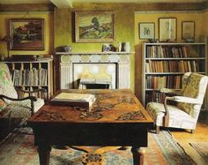 The Drawing Room at Charleston Farmhouse  http://storage.canalblog.com/99/60/169554/47523162.jpg | The golden yellow. Oh the sunshine.